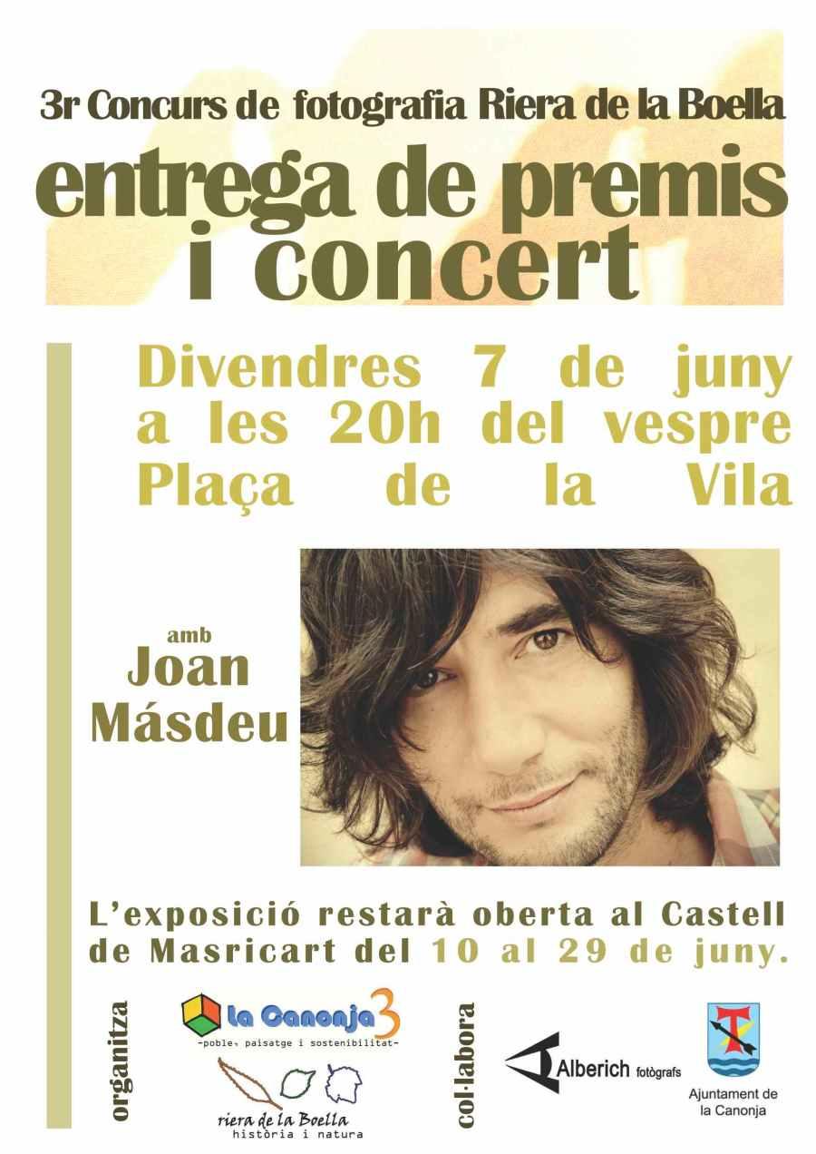 Concert de Joan Masdéu i entrega de premis del concurs de fotografia de la Riera de la Boella